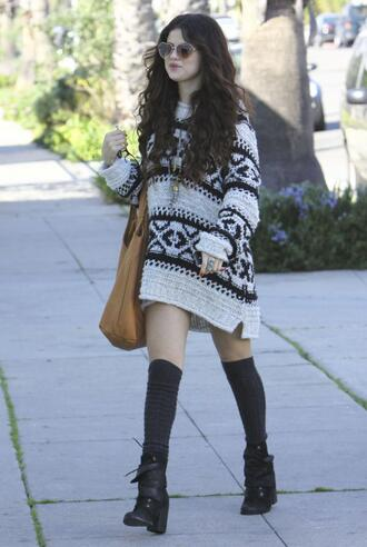 selena gomez cardigan black and white oversized sweater sweater dress knee high socks boots sweater slouchy sweater