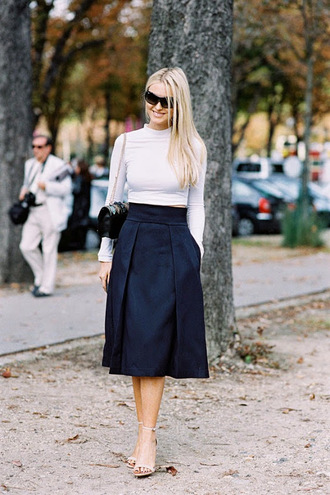 vanessa jackman blogger sandals cropped sweater midi skirt navy top blouse skirt shoes