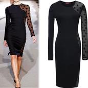 dress,lace stitching,polka dots,bodycon dress