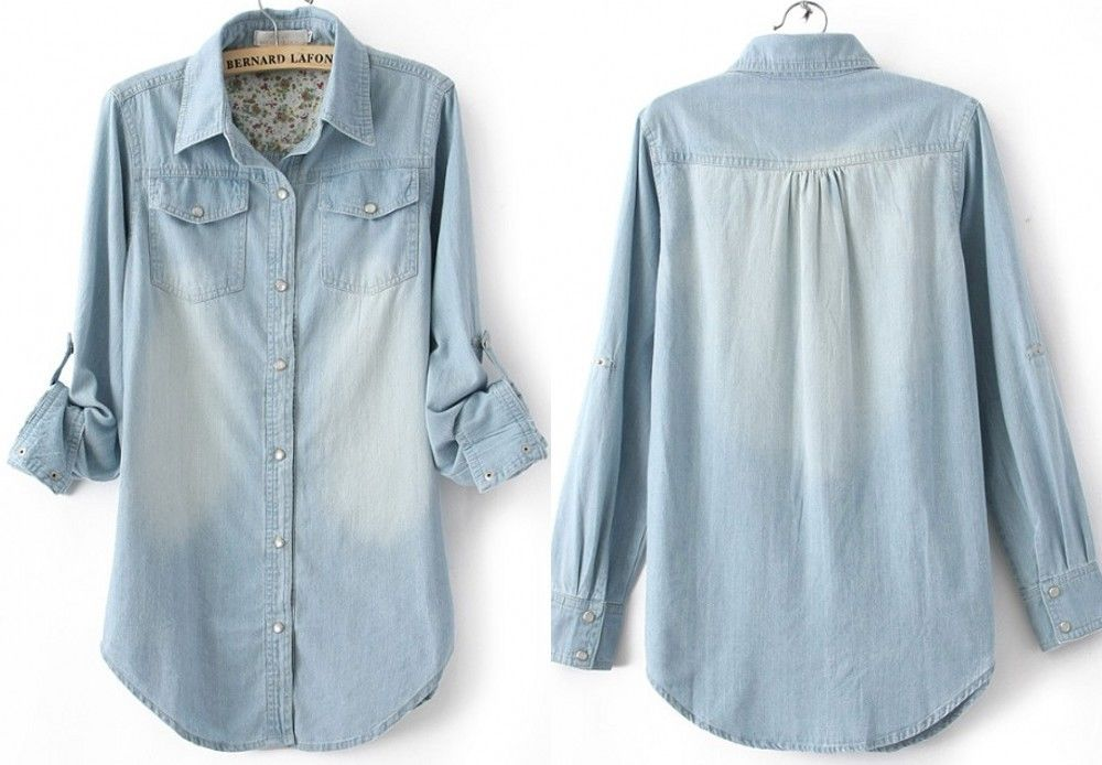 NEW Womens Denim Shirt Lady Long Sleeves Button-front Floral Denim Blouse