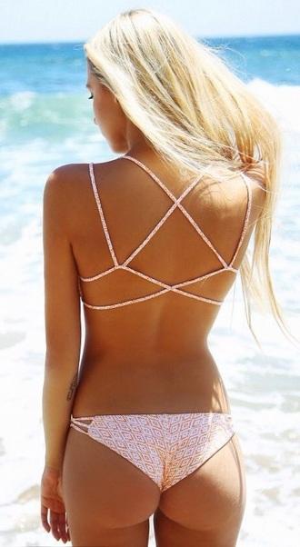 swimwear strappy bikini bikini bikini bottoms bikini top light pink cheeky