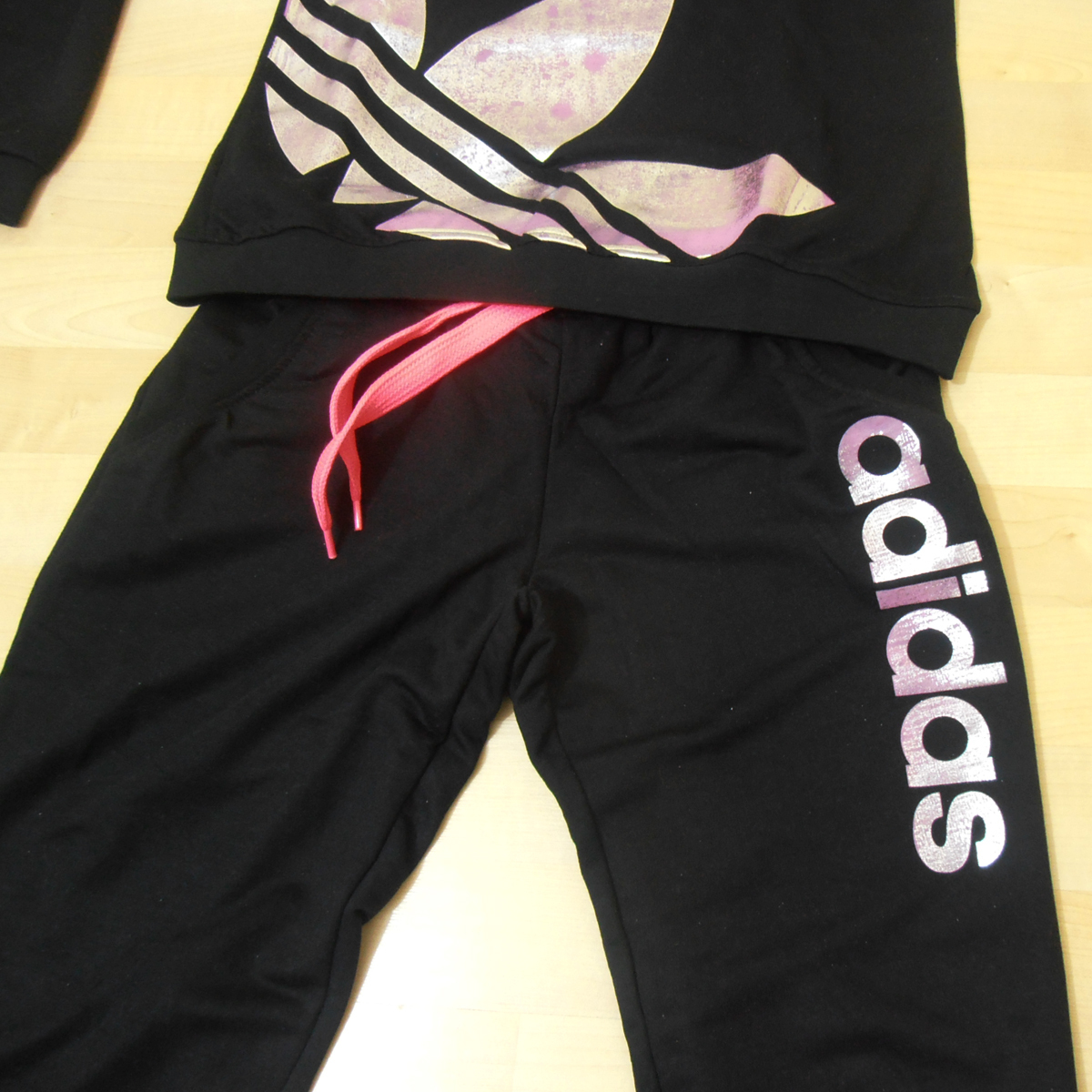 Adidas Neon Color Women Tracksuit Sweatsuit Black - Athletic Apparel