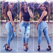 jeans,ripped,denim pants,clam,top,jewels,high heels,pumps,escarpins,sun,night,party,skinny pants,black,style,shoes,denim,pants,hot pants,hot,blue,black heels,heels,wedges,platform shoes,watch,gold,ripped jeans,t-shirt,shirt,bustier,corset top,bra,bralette,tank top,crop tops,fashion,classy,sexy,cute,outfit,streetwear,streetstyle