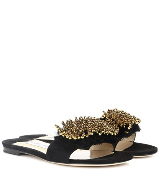 Jimmy Choo Waida embellished suede slides in black