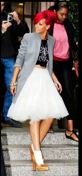 grey blazer blazer jacket clothes grey skirt tutu skirt white knee length girls rihanna suit jacket shirt