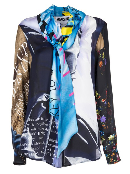 Moschino blouse printed blouse bow multicolor top