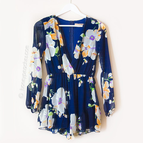 Let Me Love You Floral Playsuit - Navy – Honey Peaches