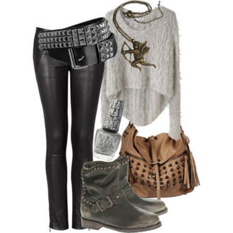 sweater bag leather studs grey black brown belt motorcycle boots leggings shoes pants