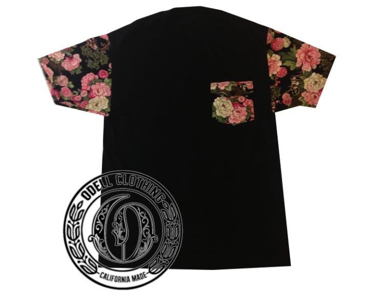 Japanese floral pocket & sleeves t shirt  / odellclothing