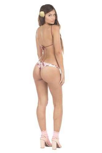 swimwear bikini bottoms brazilian bikini brown cheeky lolli swim pink print skimpy floral lolli swimwear reversible tie side