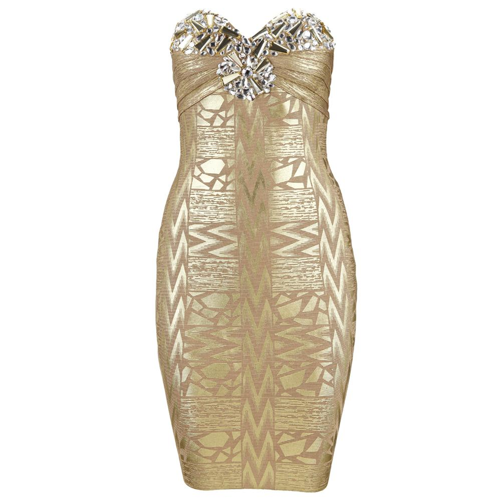 Sexy strapless beaded gold foil bandage dress h469$129