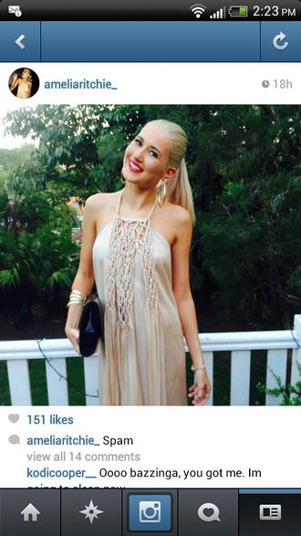 dress long prom dress blonde hair gold champagne maxi dress braided formal long gorgous formal dress hoops halter
