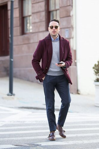 he spoke style blogger mens coat burgundy menswear