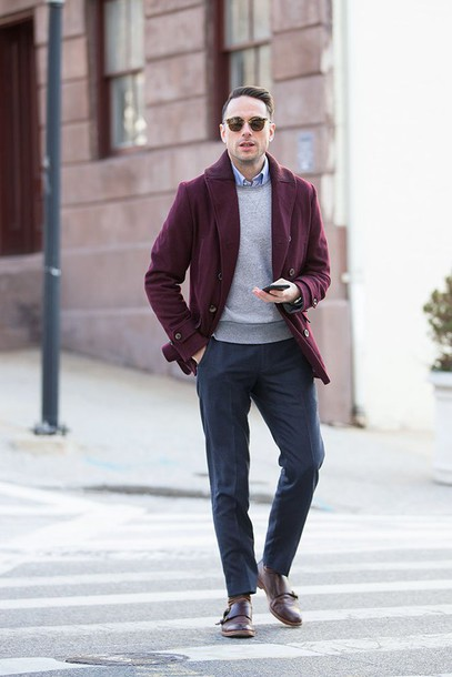 Coat: he spoke style, blogger, mens coat, burgundy, menswear ...