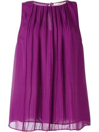 top pleated women silk purple pink