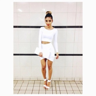 dress white outfit skirt shirt long sleeve skirt