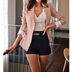 Lapel collar long sleeves color block sweet style polyester blazer for women
