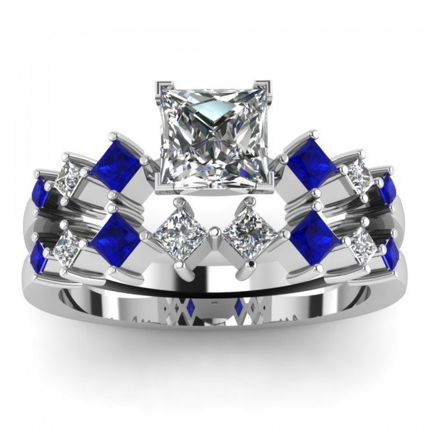 Princess Cut Diamond Bridal Wedding Ring Set With Blue Sapphire Side Stones