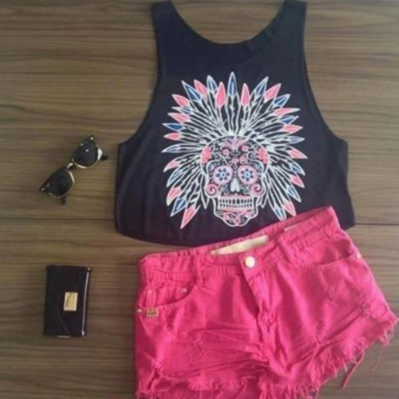 black pink shirt skull gypsy cute color t-shirt shorts