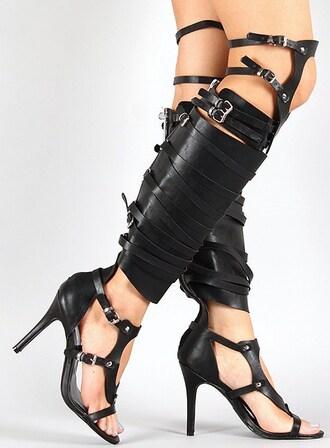 shoes studded gladiators black gladiators knee high gladiator sandals high heels stilettos