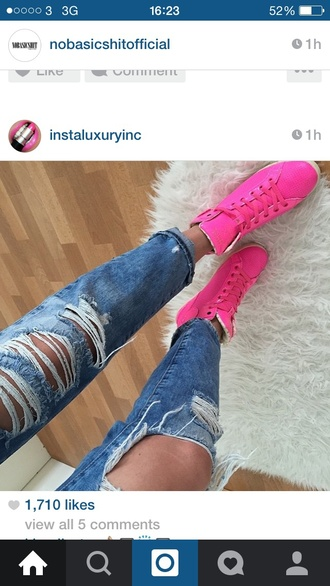 shoes trainers sneakers sportswear pink hot pink