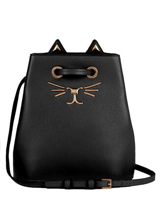 bag bucket bag leather black