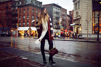 kayture blogger bag sweater shoes beanie stripes coat pants