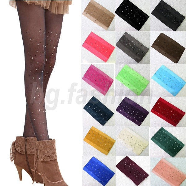 Sexy Women Thin Bling Crystal Rhinestone Pantyhose Tights Stocking Candy Color | eBay