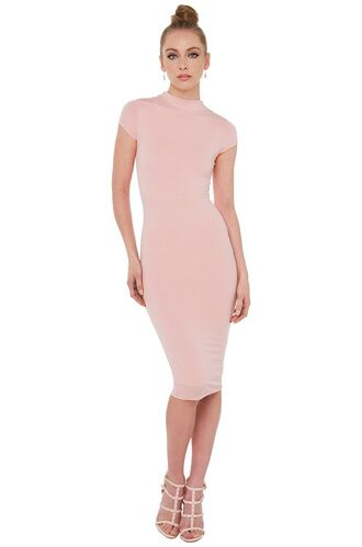 dress pink light pink blush pink midi midi dress bodycon bodycon dress mockneck mock neck mock neck dress turtleneck short sleeve nude pink