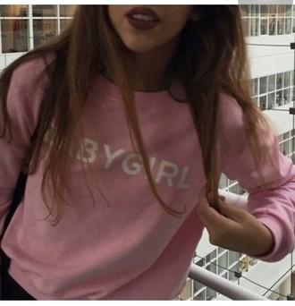 sweater pink hoodie cute baby girl bad bitches link up sweatshirt