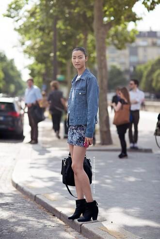 jacket denim jacket washed out skirt black boots black bag blogger