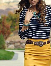 shirt,navy shirt,stripes,navy,long sleeves,skirt,mustard,mustard skirt,belt,brown belt,bracelets
