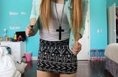 jewels,hipster,necklace,black,skirt,jacket,outfit,cool,seexy,summer,cross,blouse,cross necklace