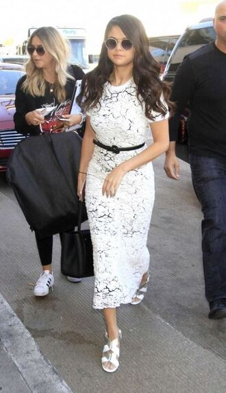 shoes sandals dress midi dress white dress selena gomez lace dress