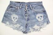skull,shorts,denim,denim shorts,jeans,diy,fashion,grunge,tumblr,punk