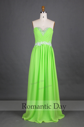 lime green dress,sweetheart dress,evening dress,formal dress,prom dress,party dress,bridesmaid,chiffon dress,a line dress,long dress,custom made dresses