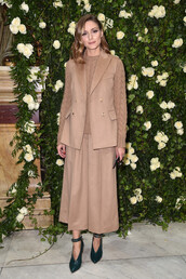 jacket,pants,camel,olivia palermo,Paris Fashion Week 2017,fall outfits,vest,sweater,shoes,blogger