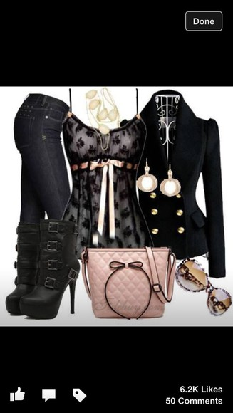 blouse jacket black blazer black lace shirt shoes
