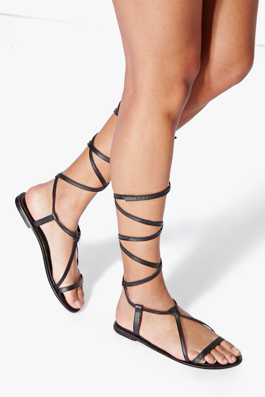 cbac0e28a05c Boutique Orla Wrap Strap Leather Ghillie Sandal