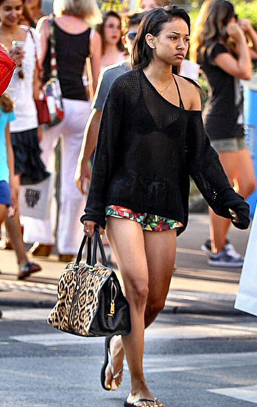 karrueche model knitted cardigan swimwear bag