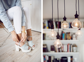 kenza blogger white jeans cleated sole platforms blue shoes jewels home accessory jeans shoes