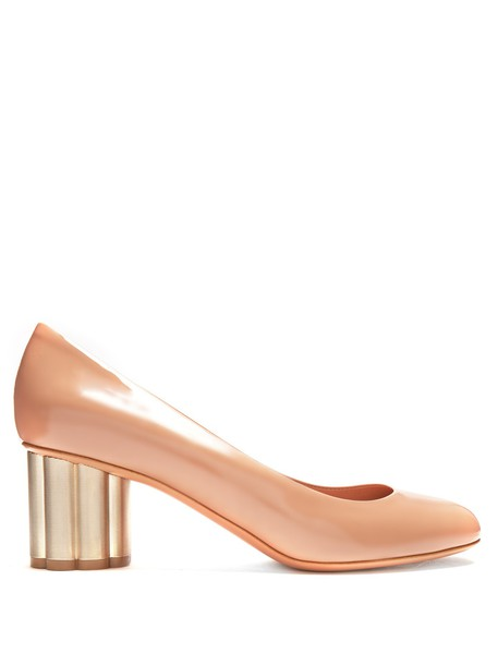 Salvatore Ferragamo heel pumps leather nude shoes