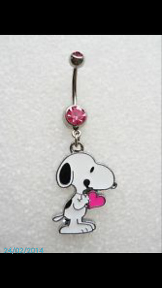 jewels snoopy pink heart stone belly button ring