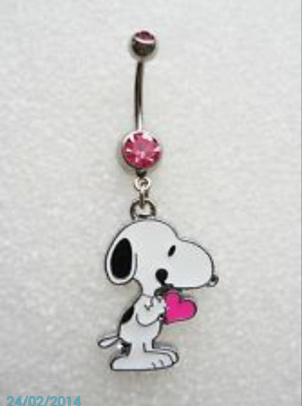 jewels stone heart bellybutton ring snoopy pink