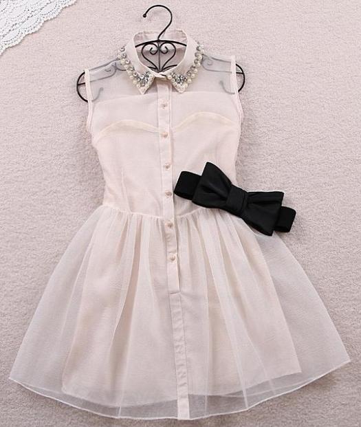 Rhinestone pearl collar bow dress