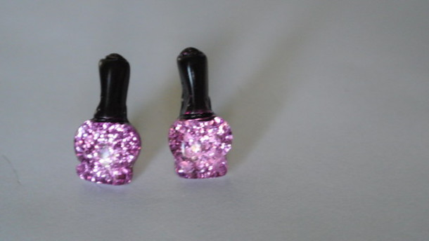 jewels earrings glitter earrings nail polish nail accessories nail art studs