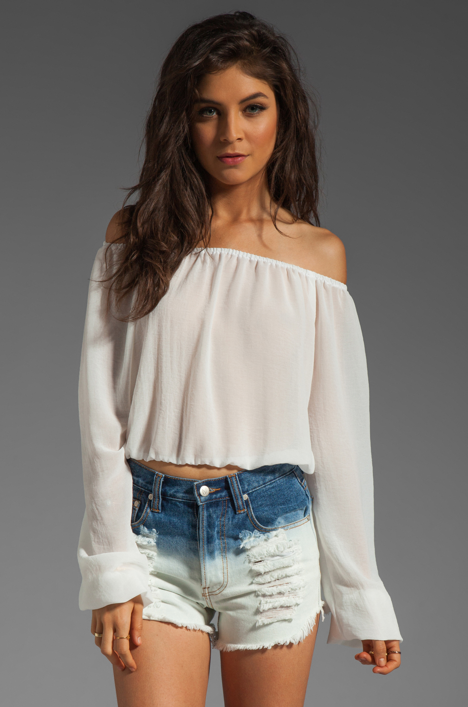 Show me your mumu lima scrunch top en snow white chiffon