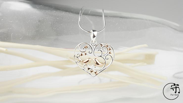 Handmade Hollow Out Sterling Silver Flower vine Birds Heart Shape Pendants No Chain - Wishbop.com
