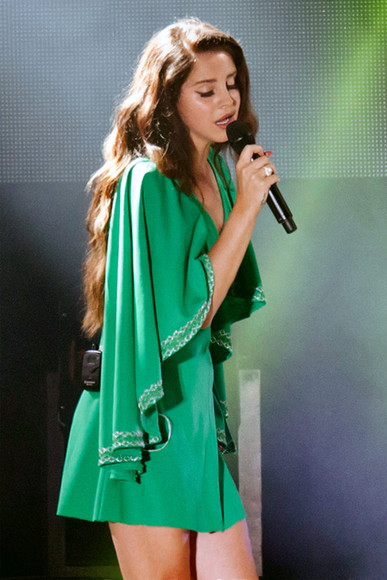 lana del rey green dress