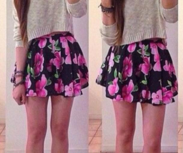 skirt pink floral skirt black skirt